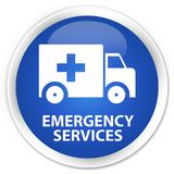 Emergency services premium blue round button. Emergency services isolated on premium blue round button abstract illustration Royalty Free Stock Image