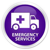 Emergency services premium purple round button. Emergency services isolated on premium purple round button abstract illustration Royalty Free Stock Images