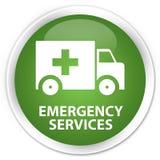 Emergency services premium soft green round button. Emergency services isolated on premium soft green round button abstract illustration Stock Image
