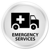 Emergency services premium white round button. Emergency services isolated on premium white round button abstract illustration Royalty Free Stock Images