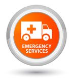 Emergency services prime orange round button. Emergency services isolated on prime orange round button abstract illustration Stock Images