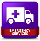 Emergency services purple square button red ribbon in middle. Emergency services isolated on purple square button with red ribbon in middle abstract illustration Stock Images
