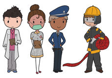 Emergency services. Set of emergency services people royalty free illustration