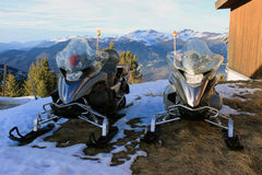 Emergency Services Snowmobiles in Courchevel Royalty Free Stock Images