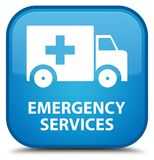 Emergency services special cyan blue square button. Emergency services isolated on special cyan blue square button abstract illustration Stock Photos