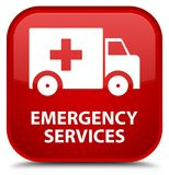 Emergency services special red square button. Emergency services isolated on special red square button abstract illustration Royalty Free Stock Photo