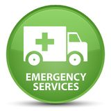 Emergency services special soft green round button. Emergency services isolated on special soft green round button abstract illustration Stock Photo