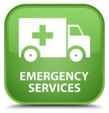 Emergency services special soft green square button. Emergency services isolated on special soft green square button abstract illustration Royalty Free Stock Image