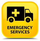 Emergency services special yellow square button. Emergency services isolated on special yellow square button abstract illustration Stock Images