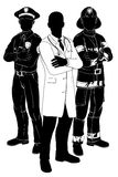 Emergency services team silhouettes. Emergency rescue services team silhouettes of a policeman or police officer, a fireman or fire-fighter and a doctor vector illustration