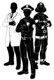 Emergency services team silhouettes. Emergency rescue services team silhouettes of a policeman or police officer, a fireman or fire-fighter and a doctor stock illustration