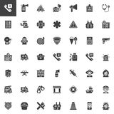 Emergency services vector icons set royalty free illustration