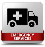 Emergency services white square button red ribbon in middle. Emergency services isolated on white square button with red ribbon in middle abstract illustration Royalty Free Stock Photography