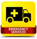 Emergency services yellow square button red ribbon in middle. Emergency services isolated on yellow square button with red ribbon in middle abstract illustration Stock Image