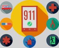 911 emergency. Set of icons logos emergency 911 Stock Illustration