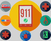 911 emergency. Set of icons logos emergency 911 Royalty Free Stock Photos