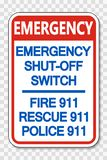 symbol Emergency Shut-Off Switch 911 Sign on transparent background vector illustration