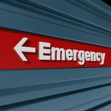 Emergency sign. Red and white emergency sign in dynamic perspective vector illustration