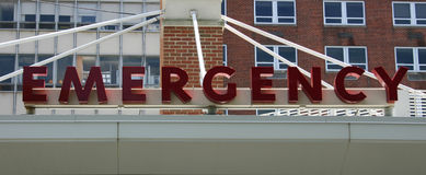 Emergency Sign. An Emergency sign above the entrance to an Emergency Room stock photos