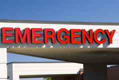 Emergency sign. An emergency sign above the emergency entrance to a hospital Stock Photos