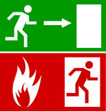 Emergency  sign. Emergency fire exit door and exit door, sign with human figure Stock Image