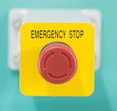 Emergency Sign. Emergency button on machine in factory Royalty Free Stock Photos