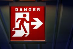 The emergency sign for danger stock image