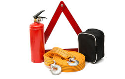 emergency sign, first aid kit, fire extinguisher Stock Images