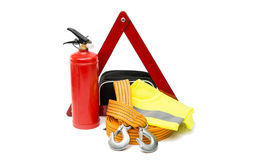 emergency sign, first aid kit, fire extinguisher Royalty Free Stock Images