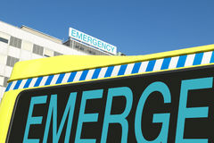 Emergency sign on hospital and ambulance Stock Photo