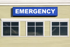 Emergency Sign Outside Hospital Building Stock Photo