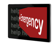 Emergency Sign. On screen of tablet  made in 3d software Royalty Free Stock Photos