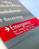 Emergency Signage. For Local Hospital Stock Photos