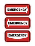 Emergency signs - red sign Stock Photo