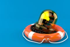 Emergency siren with life buoy. Isolated on blue background. 3d illustration Royalty Free Stock Photo