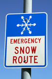Emergency Snow Route Sign Royalty Free Stock Photo