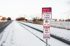Emergency snow route sign in Minnesota Royalty Free Stock Photo