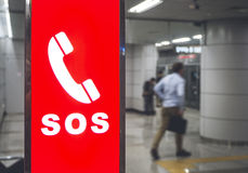 Emergency SOS Sign symbol in Public Transportation. Subway Security system Royalty Free Stock Photos