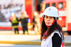 Emergency squad. An emergency squad woman on duty Royalty Free Stock Photos