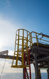Emergency stairway. To the deck on offshore oil rig- working at height stock photography