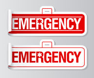 Emergency stickers. Emergency long case stickers set Royalty Free Stock Photo
