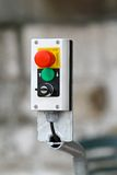 Emergency stop. Big red button for machine emergency stop royalty free stock photography