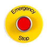 Emergency Stop. Extreme close-up image of emergency stop switch studio on white stock image