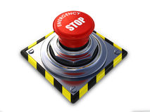 Emergency stop button. Isolated on a white background (3d render Stock Photography