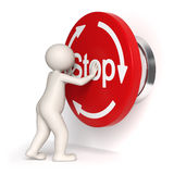 Emergency stop button - 3d man. 3d guy pressing a big emergency button - Isolated symbol Stock Image