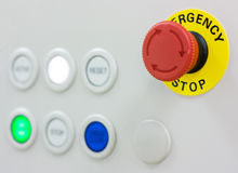 Emergency stop button. On the equipment royalty free stock photography