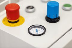 Emergency stop button. Close up stock images