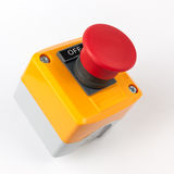 Emergency stop button. Electronic control. Assembled Stations stock photography