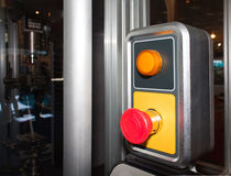 Emergency stop button. An emergency stop button for an industrial machine stock photography