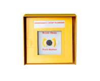Emergency stop button. Isolated on white background Stock Images